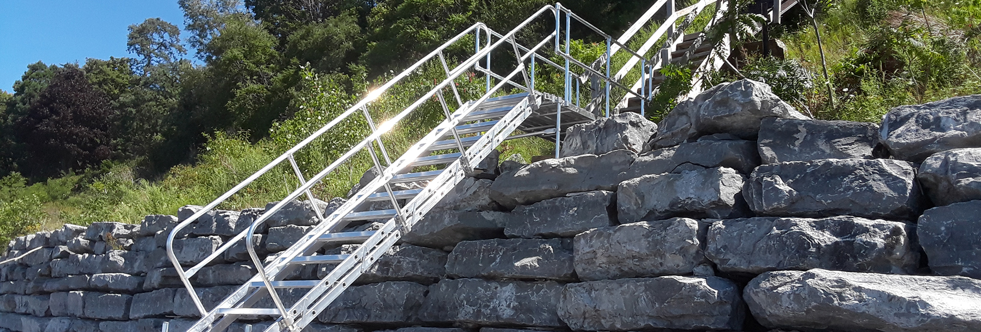 Aluminum Stair from seawall